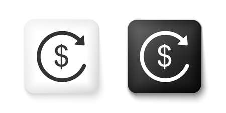 Black and white Refund money icon isolated on white background. Financial services, cash back concept, money refund, return on investment, currency exchange. Square button. Vector