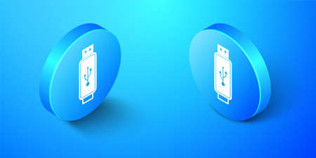Isometric USB flash drive icon isolated on blue background. Blue circle button. Vector  イラスト・ベクター素材