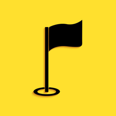 Black Golf flag icon isolated on yellow background. Golf equipment or accessory. Long shadow style. Vector  イラスト・ベクター素材
