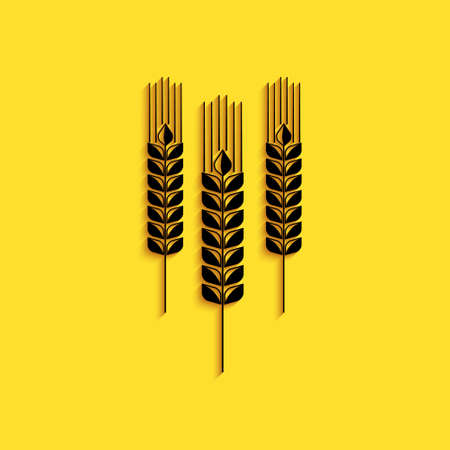 Black Cereals icon with rice, wheat, corn, oats, rye, barley icon isolated on yellow background. Ears of wheat bread symbols. Agriculture wheat. Long shadow style. Vector