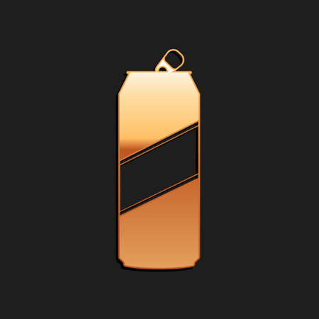 Gold Aluminum can icon isolated on black background. Long shadow style. Vector  イラスト・ベクター素材