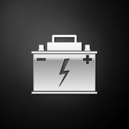 Silver Car battery icon isolated on black background. Accumulator battery energy power and electricity accumulator battery. Lightning bolt symbol. Long shadow style. Vector