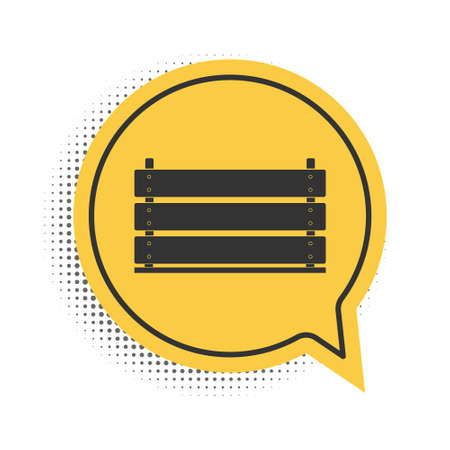 Black Wooden box icon isolated on white background. Grocery basket, storehouse crate. Empty wooden container for vegetables, products. Yellow speech bubble symbol. Vector  イラスト・ベクター素材