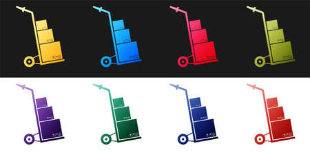Set Hand truck and boxes icon isolated on black and white background. Dolly symbol. Vector  イラスト・ベクター素材