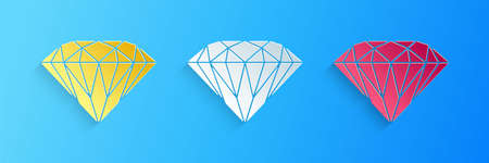 Paper cut Diamond icon isolated on blue background. Jewelry symbol. Gem stone. Paper art style. Vector