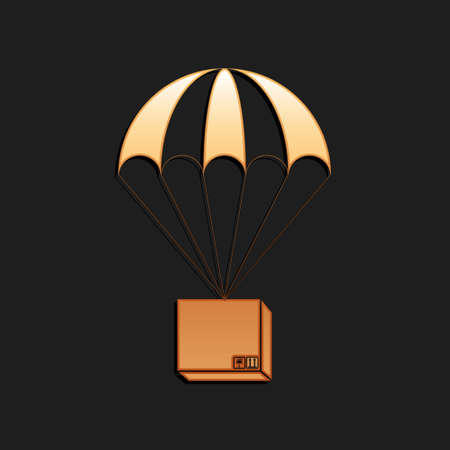 Gold Box flying on parachute icon isolated on black background. Parcel with parachute for shipping. Delivery service, air shipping concept, bonus. Long shadow style. Vector  イラスト・ベクター素材