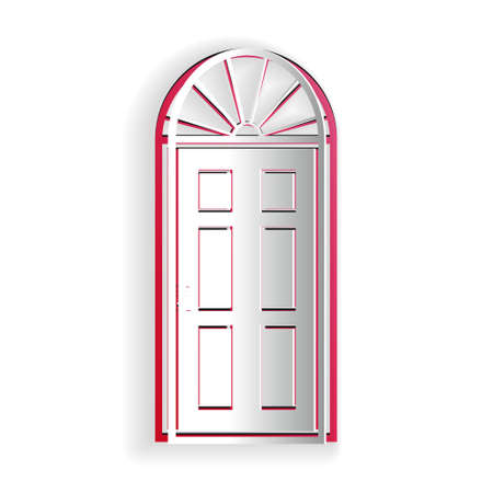 Paper cut Closed door icon isolated on white background. Paper art style. Vector