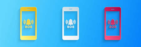 Paper cut SOS call icon isolated on blue background. 911, emergency, help, warning, alarm. Paper art style. Vector