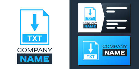 Logotype TXT file document icon. Download TXT button icon isolated on white background. Logo design template element. Vector 矢量图像
