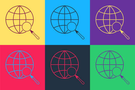 Pop art Magnifying glass with globe icon isolated on color background. Analyzing the world. Global search sign. Vector