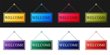 Set Hanging sign with text Welcome icon isolated on black and white background. Business theme for cafe or restaurant. Vector