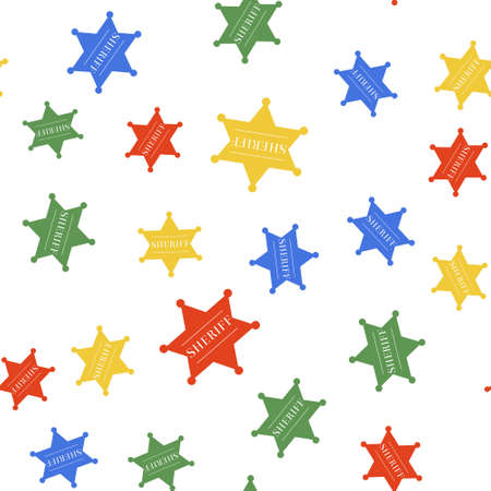 Color Hexagonal sheriff star icon isolated seamless pattern on white background. Sheriff badge symbol. Vector