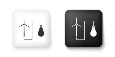 Black and white Wind mill turbine generating power energy and bulb icon isolated on white background. Natural renewable energy production using wind mills. Square button. Vector  イラスト・ベクター素材