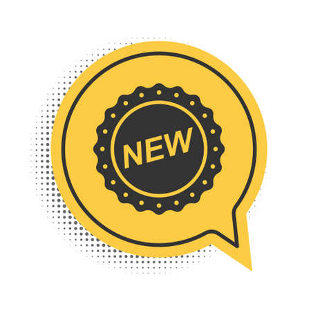 Black Label New icon isolated on white background. Yellow speech bubble symbol. Vector  イラスト・ベクター素材