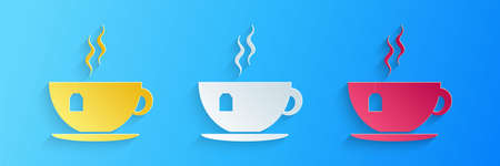 Paper cut Cup with tea bag icon isolated on blue background. Paper art style. Vector  イラスト・ベクター素材