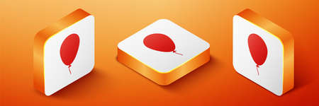 Isometric Balloon with ribbon icon isolated on orange background. Orange square button. Vector