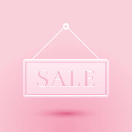Paper cut Hanging sign with text Sale icon isolated on pink background. Paper art style. Vector