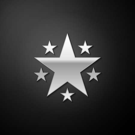 Silver Star icon isolated on black background. Favorite, Best Rating, Award symbol. Long shadow style. Vector  イラスト・ベクター素材