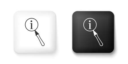 Black and white Magnifying glass and information icon isolated on white background. Search with information sign. Square button. Vector