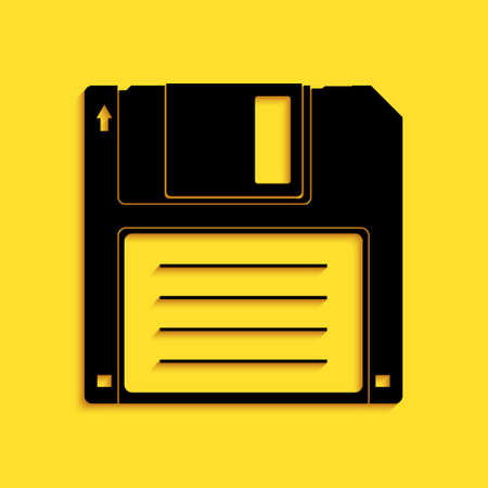 Black Floppy disk for computer data storage icon isolated on yellow background. Diskette sign. Long shadow style. Vector