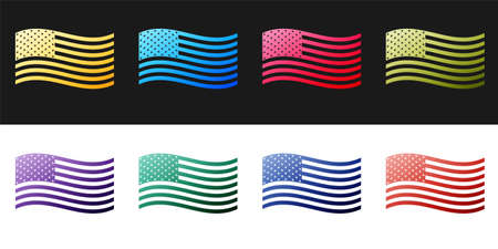 Set American flag icon isolated on black and white background. Flag of USA. Vector