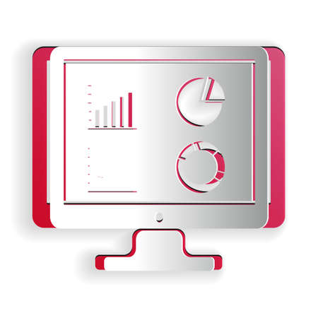 Paper cut Computer monitor with graph chart icon isolated on white background. Report text file icon. Accounting sign. Audit, analysis, planning. Paper art style. Vector