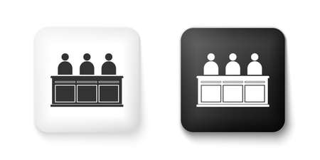 Black and white Jurors icon isolated on white background. Square button. Vector