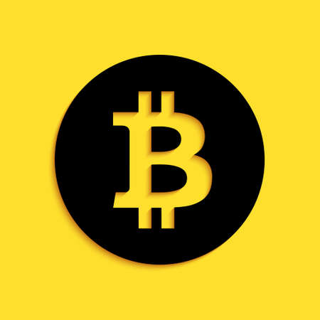 Black Cryptocurrency coin Bitcoin icon isolated on yellow background. Physical bit coin. Digital currency. Blockchain based secure crypto currency. Long shadow style. Vector