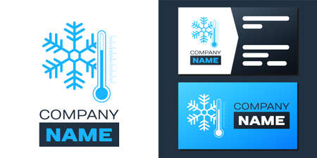 Logotype Thermometer with snowflake icon isolated on white background. Logo design template element. Vector