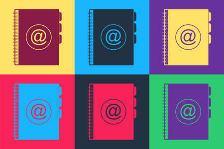 Pop art Address book icon isolated on color background. Notebook, address, contact, directory, phone, telephone book icon. Vector