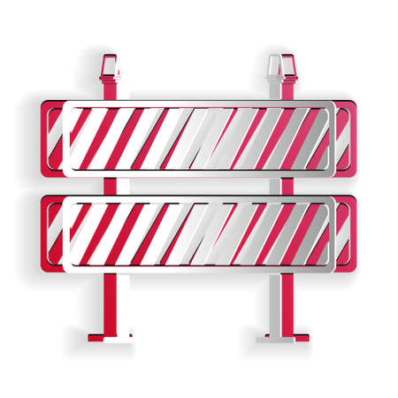 Paper cut Road barrier icon isolated on white background. Restricted area which are in under construction processes. Fence of building or repair works sign. Paper art style. Vector  イラスト・ベクター素材