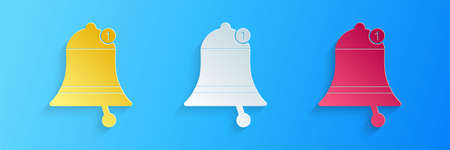Paper cut Bell icon isolated on blue background. New Notification icon. New message icon. Paper art style. Vector