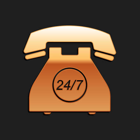 Gold Telephone 24 hours support icon isolated on black background. All-day customer support call-center. Open 24 hours a day and 7 days a week. Long shadow style. Vector