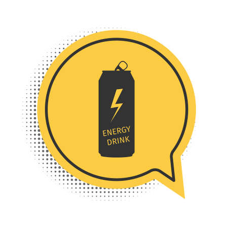 Black Energy drink icon isolated on white background. Yellow speech bubble symbol. Vector