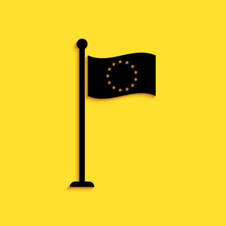 Black Flag of European Union icon isolated on yellow background. EU circle symbol. Waving EU flag on a metallic pole. Long shadow style. Vector  イラスト・ベクター素材