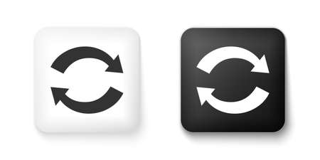Black and white Refresh icon isolated on white background. Reload symbol. Rotation arrows in a circle sign. Square button. Vector