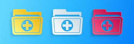 Paper cut Medical health record folder for healthcare icon isolated on blue background. Patient file icon. Medical history symbol. Paper art style. Vector