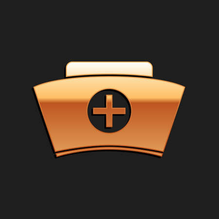 Gold Nurse hat with cross icon isolated on black background. Medical nurse cap sign. Long shadow style. Vector  イラスト・ベクター素材