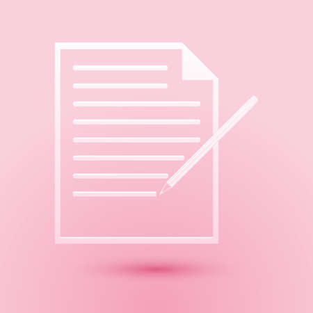Paper cut Blank notebook and pencil with eraser icon isolated on pink background. Paper and pencil. Paper art style. Vector  イラスト・ベクター素材