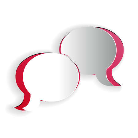 Paper cut Blank speech bubbles icon isolated on white background. FAQ sign. Copy files, chat speech bubble and chart web icons. Paper art style. Vector  イラスト・ベクター素材