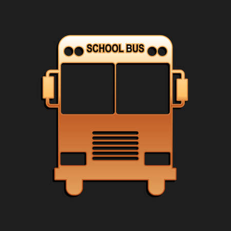 Gold School Bus icon isolated on black background. Long shadow style. Vector