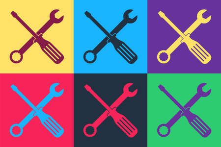 Pop art Spanner and screwdriver tools icon isolated on color background. Service tool symbol. Vector