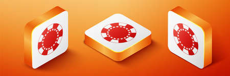 Isometric Casino chip icon isolated on orange background. Orange square button. Vector