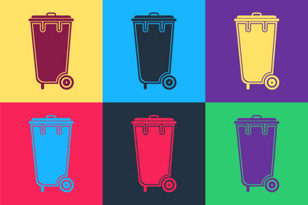 Pop art Trash can icon isolated on color background. Garbage bin sign. Recycle basket icon. Office trash icon. Vector