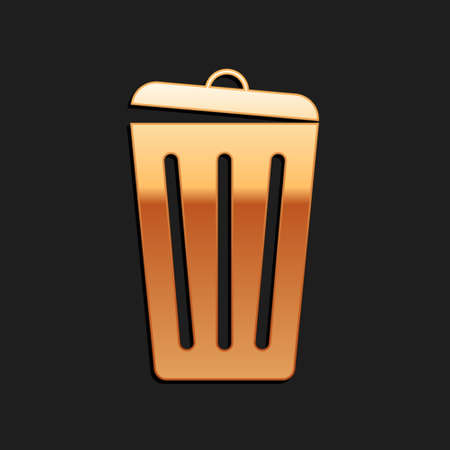 Gold Trash can icon isolated on black background. Garbage bin sign. Recycle basket icon. Office trash icon. Long shadow style. Vector  イラスト・ベクター素材