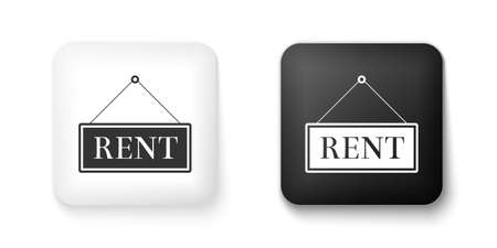 Black and white Hanging sign with text Rent icon isolated on white background. Square button. Vector