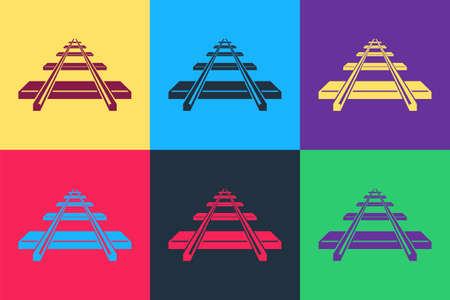 Pop art Railroad icon isolated on color background. Vector  イラスト・ベクター素材
