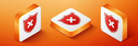 Isometric Shield and cross x mark icon isolated on orange background. Denied disapproved sign. Protection, safety, security concept. Orange square button. Vector  イラスト・ベクター素材