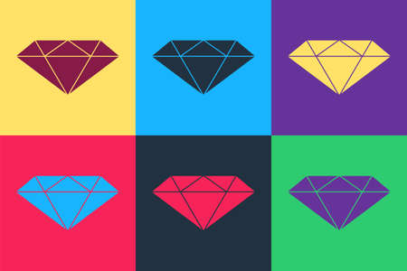 Pop art Diamond icon isolated on color background. Jewelry symbol. Gem stone. Vector