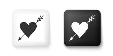 Black and white Amour symbol with heart and arrow icon isolated on white background. Love sign. Valentines symbol. Square button. Vector
